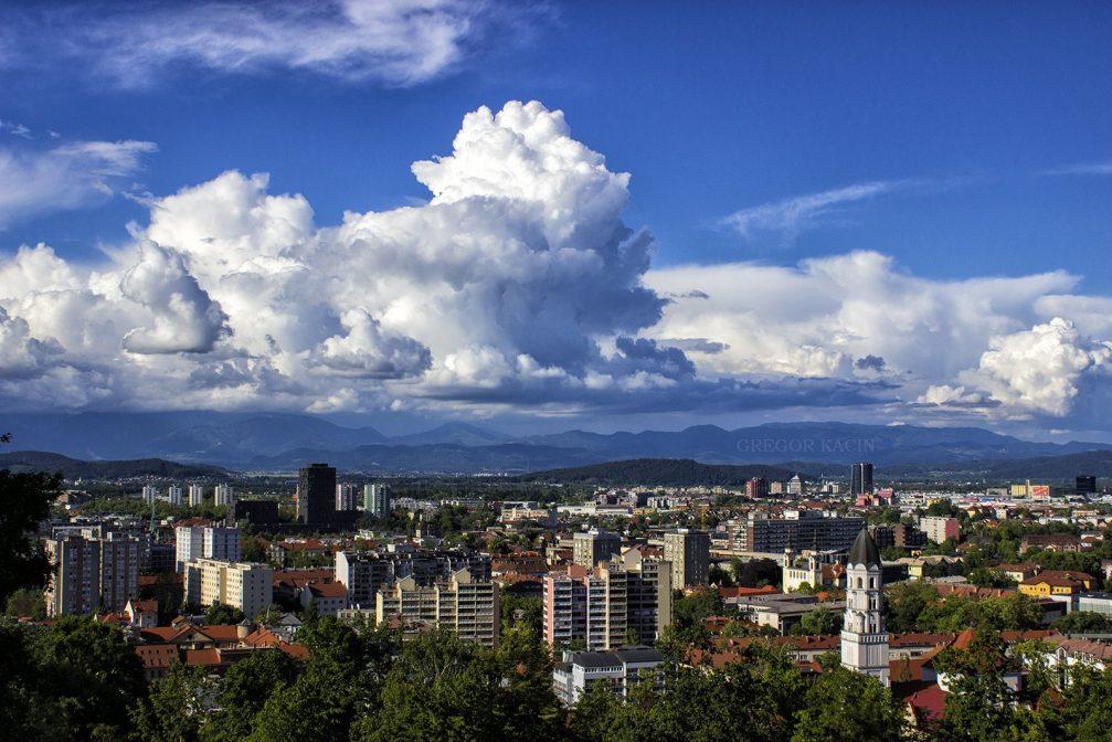 Elevated view of Slovenia's capital Ljubljana