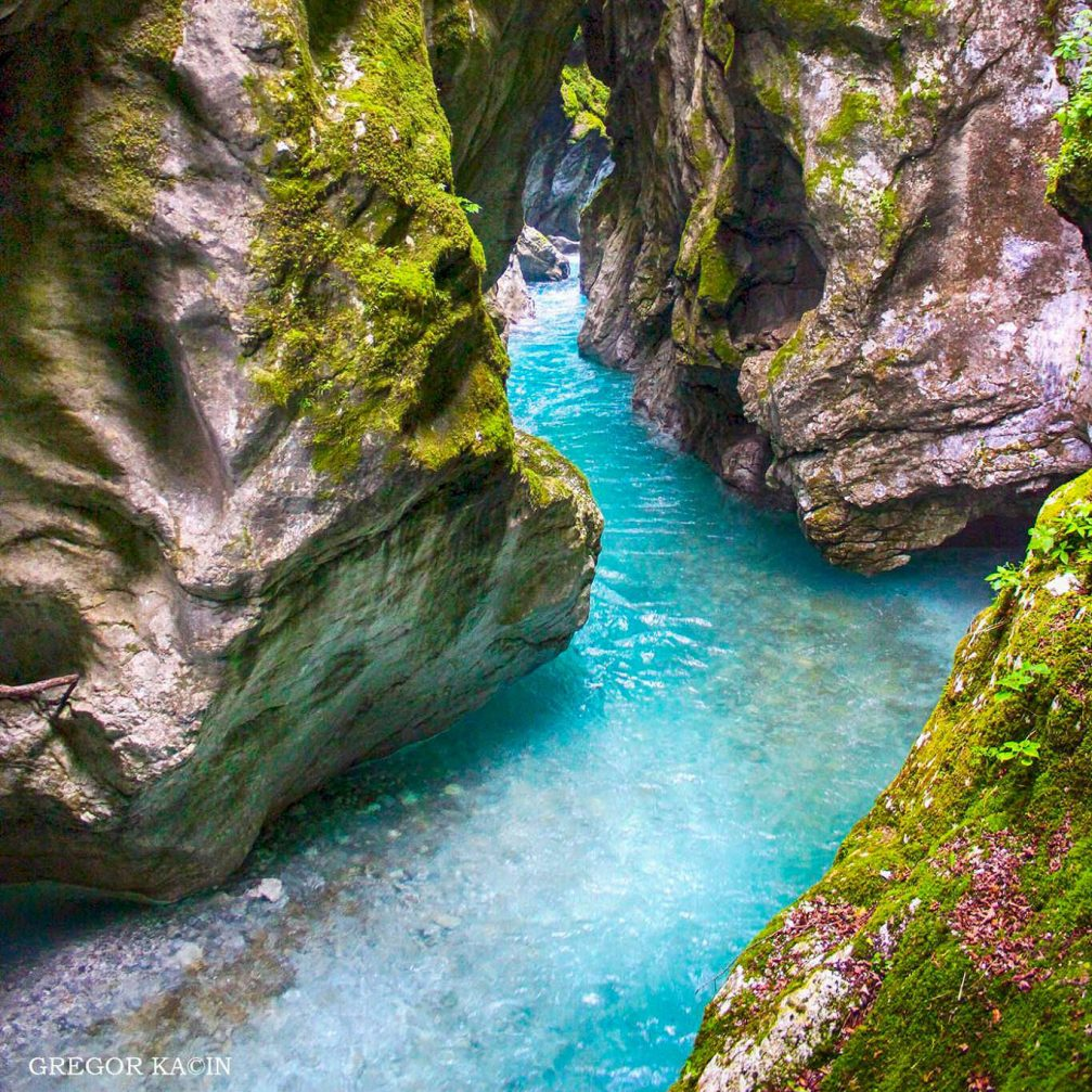 The turquoise Tolminka river flowing through the Tolmin Gorge, another amazing natural wonder in Slovenia