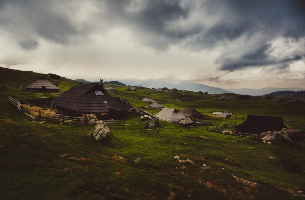 The interesting traditional herdsmen's cottages on the Velika Planina plateau in Slovenia