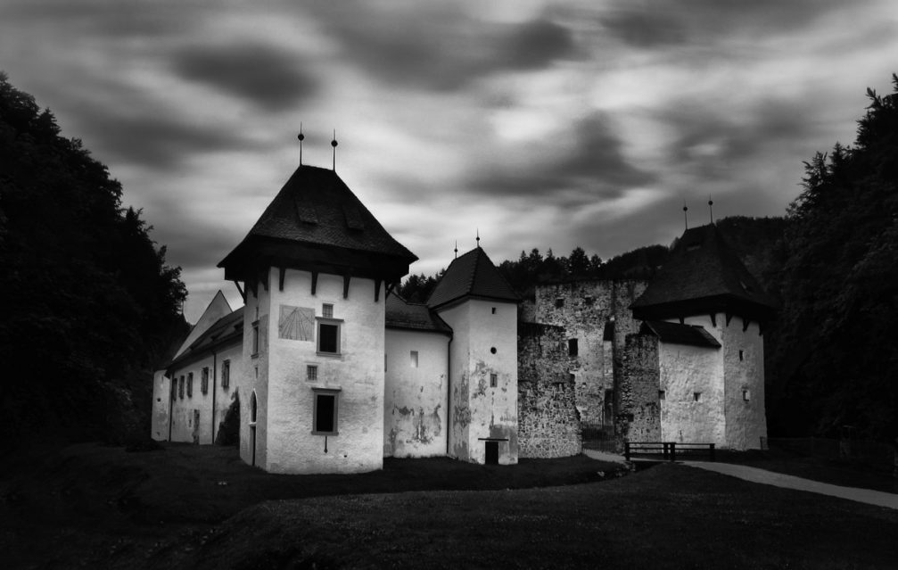 The exterior of the Zice Charterhouse in black and white