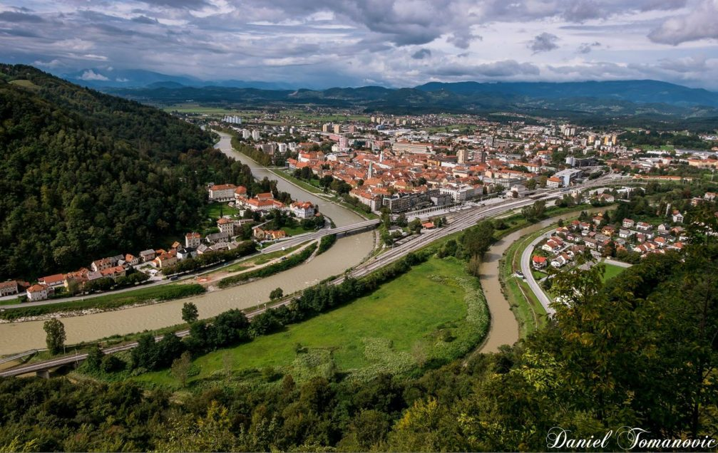 Elevated view of the city of Calje, Slovenia from the Old Castle