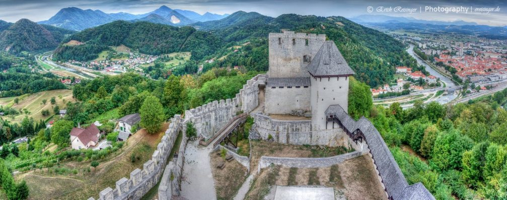 A beautiful panorama of the city of Celje, Slovenia, from the Old Castle