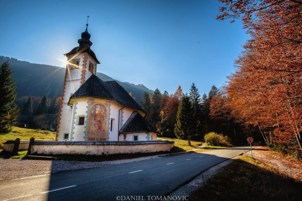 The Church of the Holy Spirit in the village of Ribcev Laz on Lake Bohinj in northwestern Slovenia