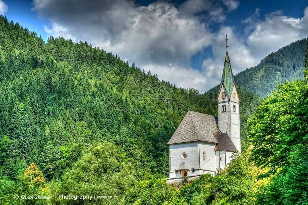 Exterior of the Church of Our Lady of the Snows on a hill above Solcava, Slovenia