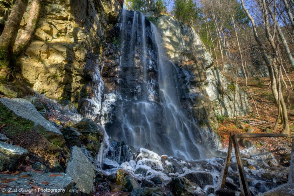 View of the beautiful Fram waterfall, alternatively known as the Skalca waterfall, Pohorje