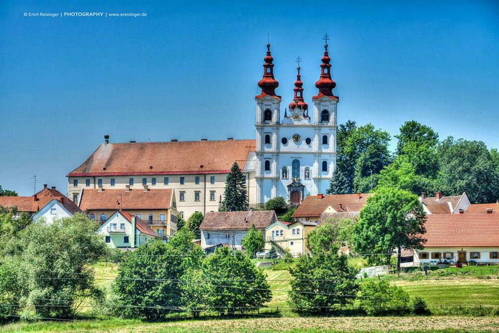 The beautiful Holy Trinity Pilgrimage Church and Franciscan Monastery in lovely setting in Slovene Hills
