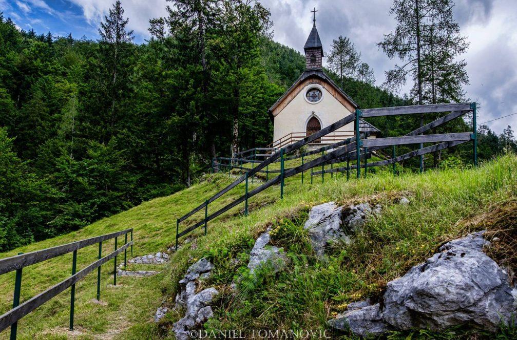 The Hubert's chapel or Hubertova Kapelica in the village of Spodnje Jezersko in northern Slovenia