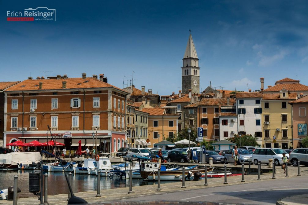 View of the historic town centre of Izola, Slovenia