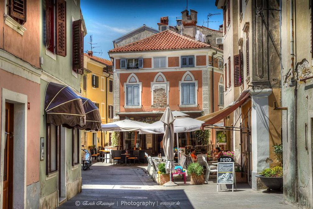A street view in the historic centre of Izola, Slovenia