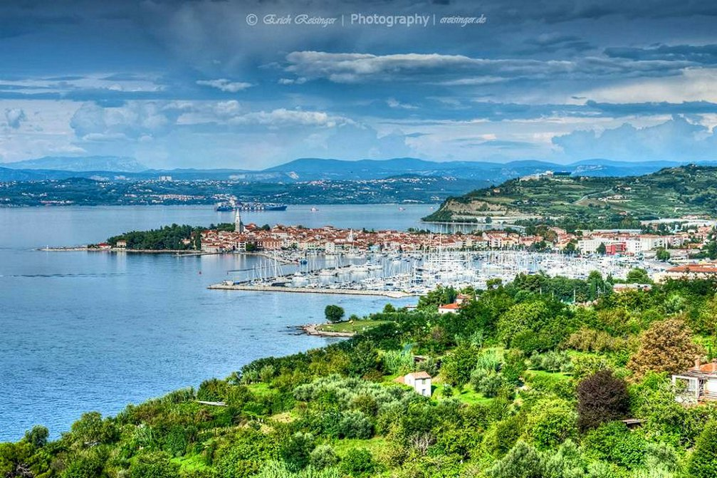 Panoramic view of the coastal town of Izola, Slovenia