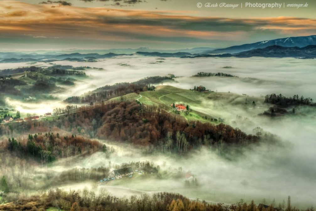 Elevated view of the hilly countryside of the Slovene Hills from the Placki Stolp lookout tower