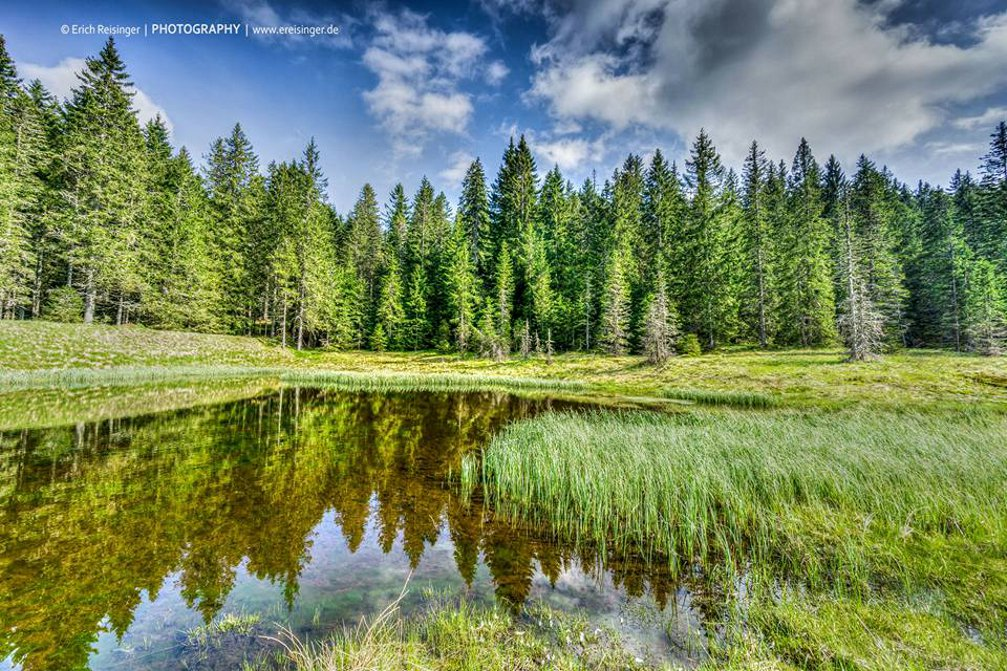 Lake Tiho Jezero or Silent Lake in the Pohorje Hills in Slovenia