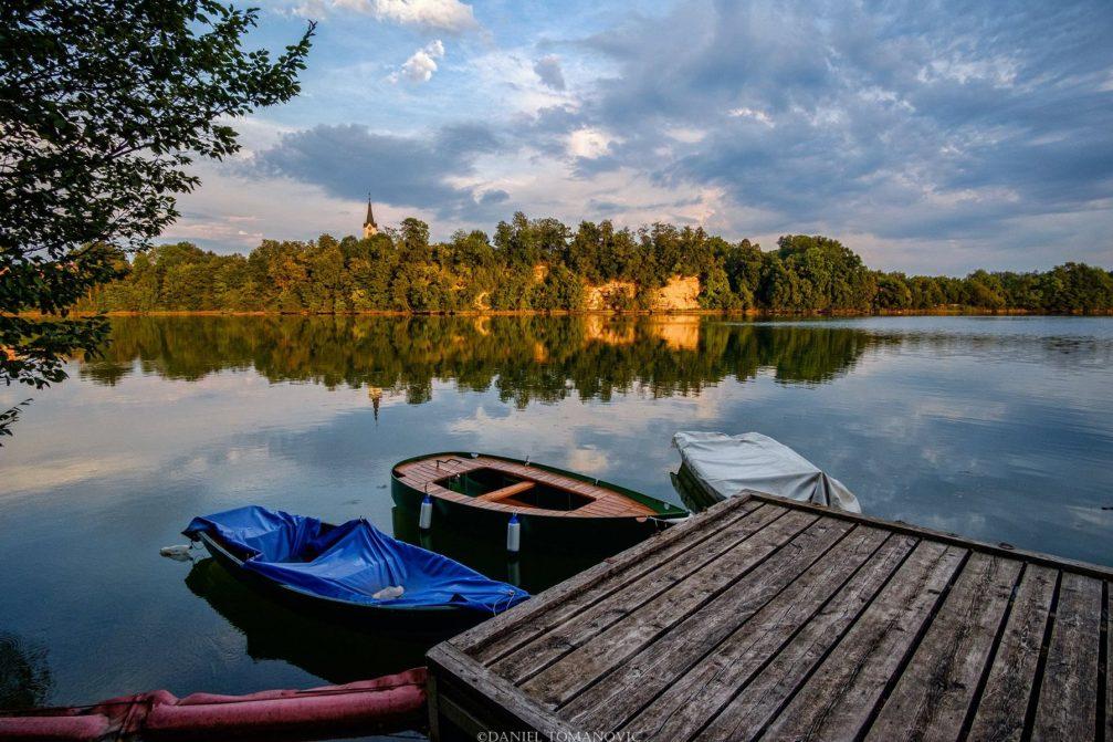 View of Lake Trboje or Lake Mavcice from the Trboje village in northwestern Slovenia