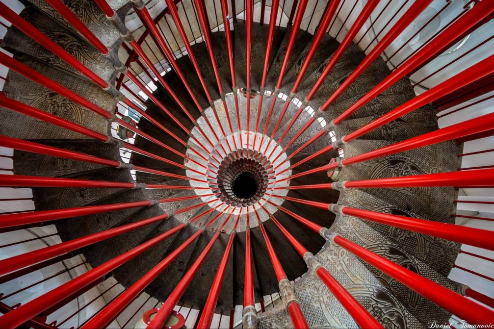 An interesting double helix spiral staircase inside the Ljubljana Castle