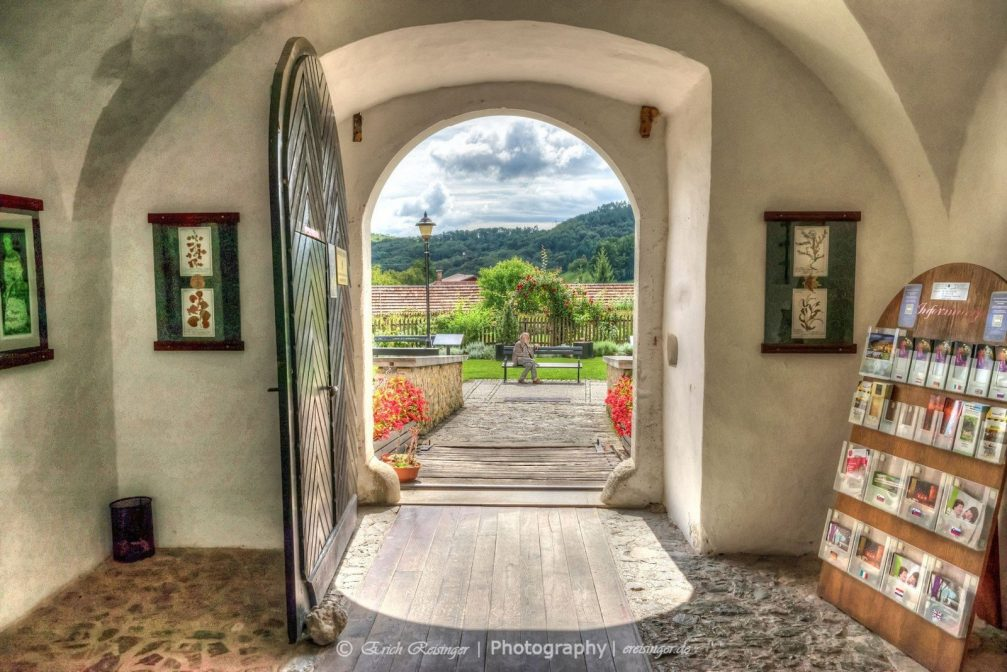 View through the front doors of the Minorite Olimje Monastery in eastern Slovenia