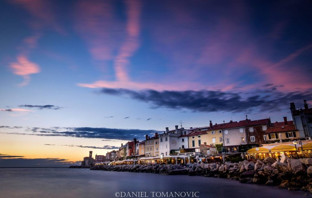 A seaside promenade of the town of Piran, Slovenia