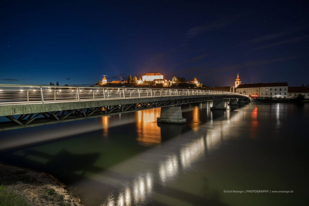 Panoramic night view of Ptuj, the oldest town in Slovenia Ptuj