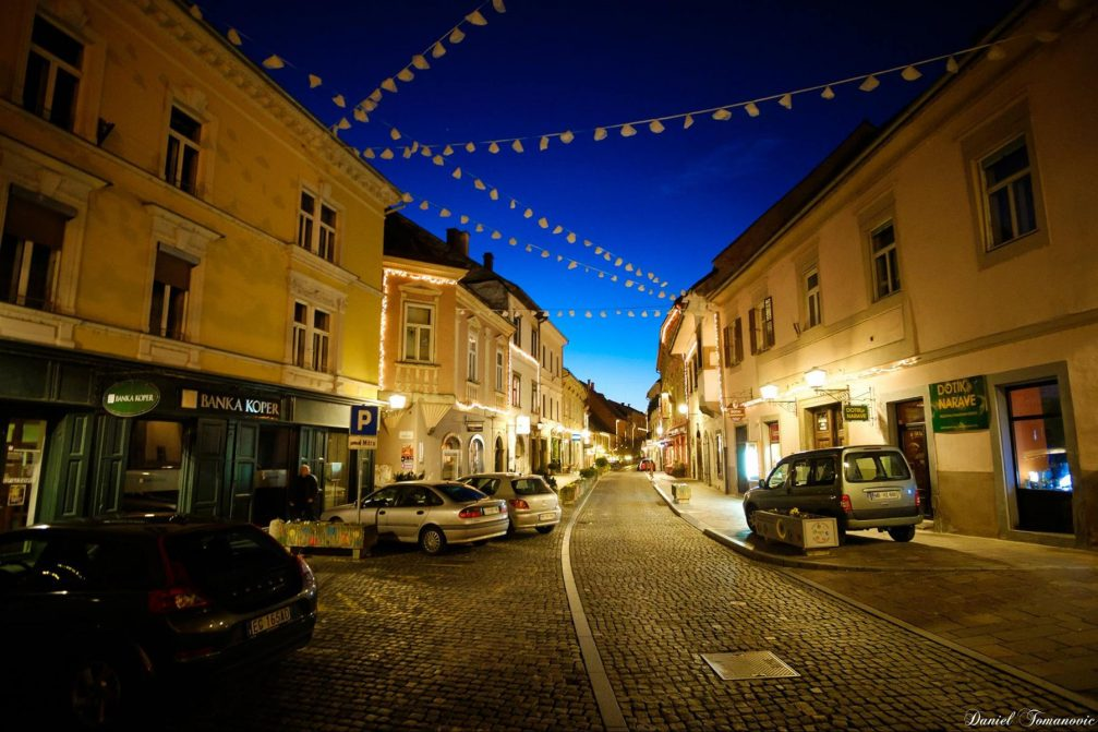 A street view in an old town centre in Ptuj, Slovenia