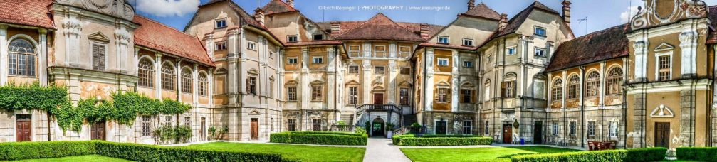 A beautiful panorama of the baroque Statenberg mansion in northeastern Slovenia