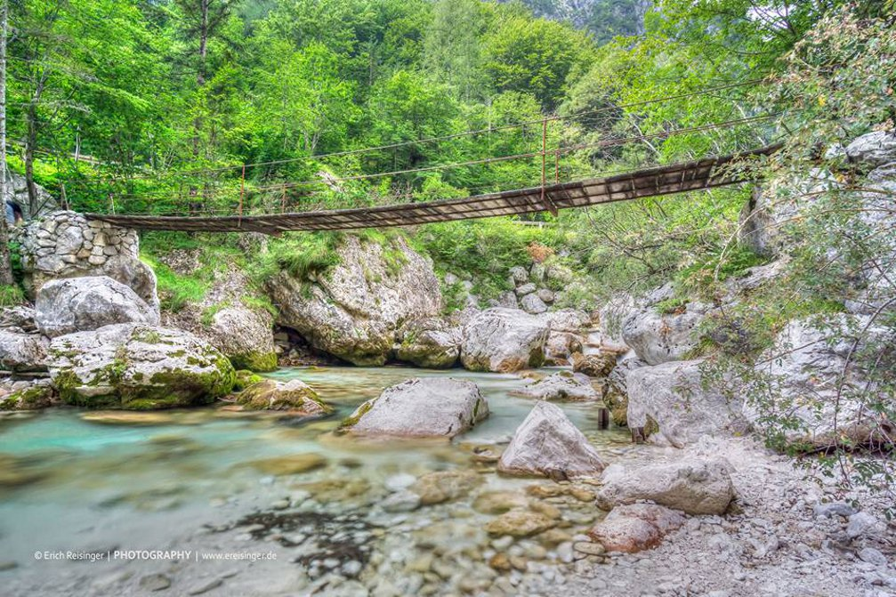 Suspension footbridge over the Soca River in Slovenia