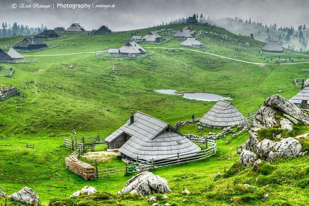 The Velika Planina high-elevation Alpine settlement with traditional herdsmen's huts