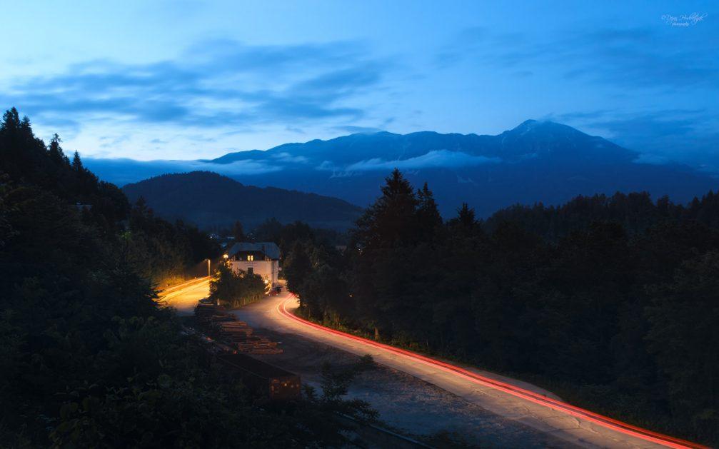The Jezero Bled train station at night