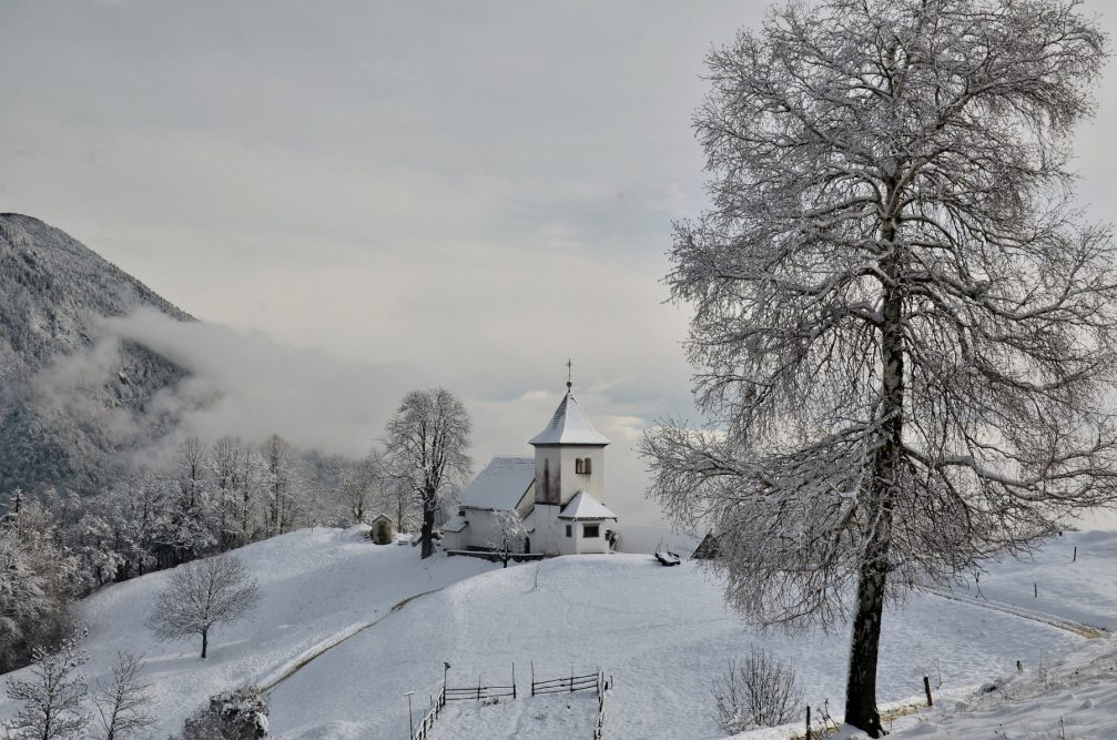 The Church of St. Peter above Begunje Na Gorenjskem powdered with fresh snow in winter