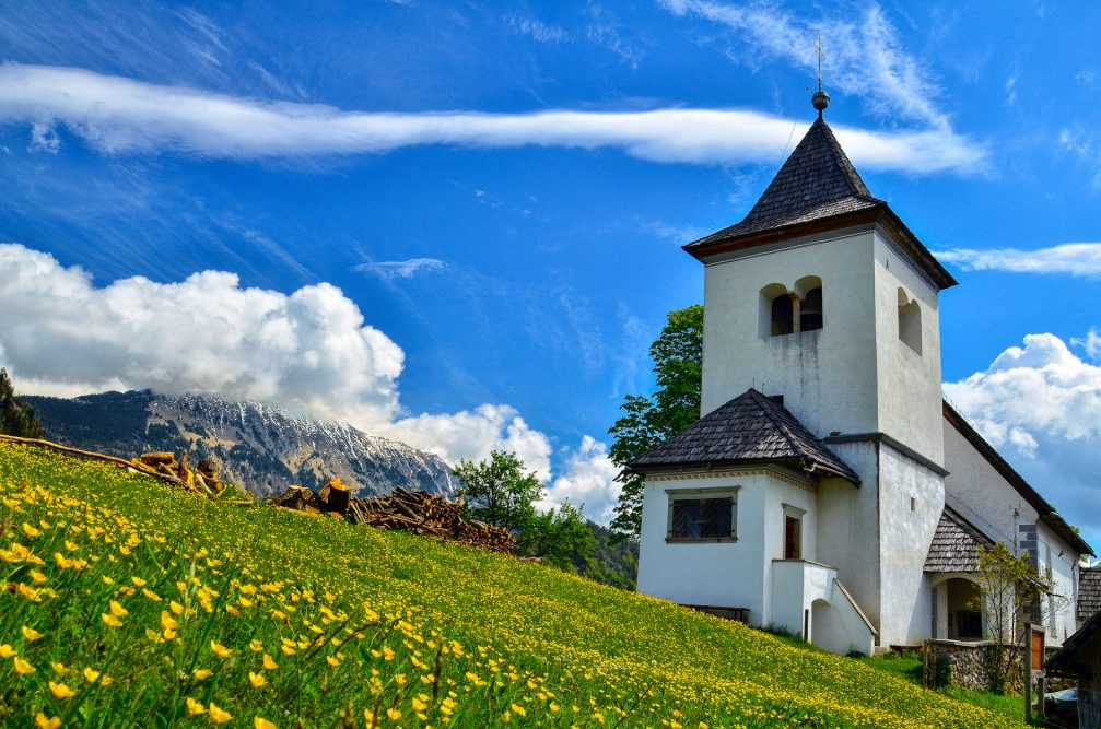 Church of St. Peter above the village of Begunje Na Gorenjskem in northwestern Slovenia