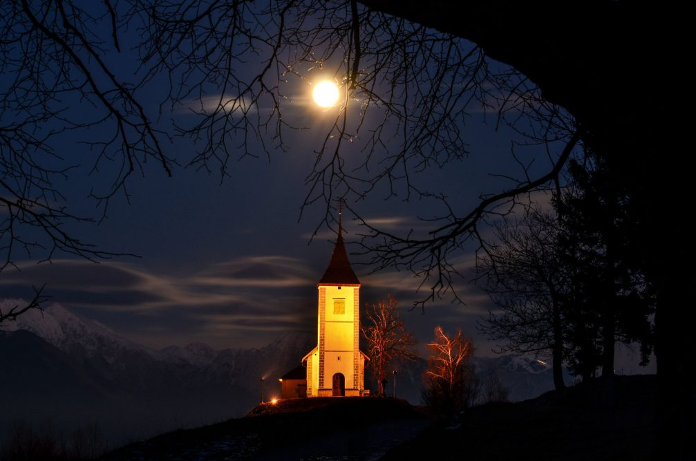 Jamnik Church of Saints Primus and Felician illuminated at night