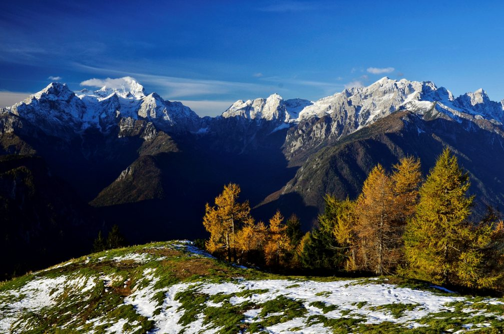 View of the Julian Alps from the Dovska Baba mountain in the Karavanke mountain range