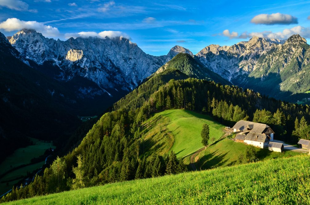 Elevated view of the Klemensek farmstead above the Logarska Dolina Valley in Solcava, Slovenia