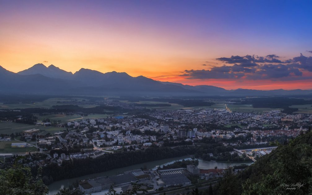 An aerial panoramic view of Kranj, the capital of the Gorenjska region of Slovenia