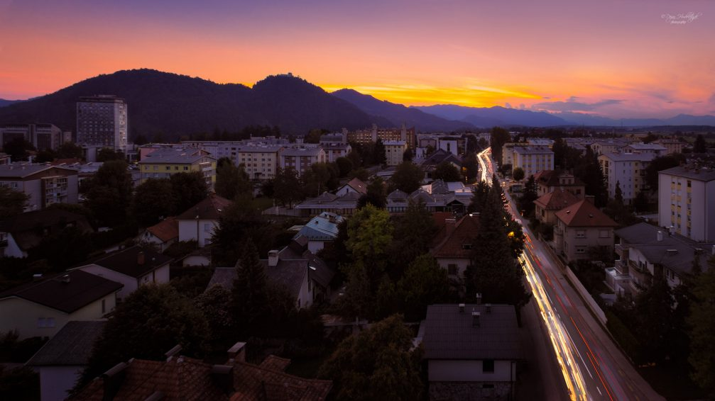 An elevated panoramic night view of the city of Kranj, Slovenia from the water tower