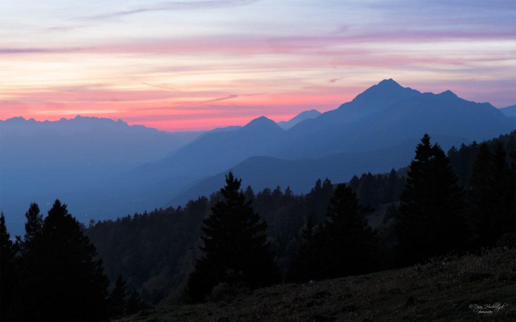 A beautiful mountain sunset as seen from Krvavec