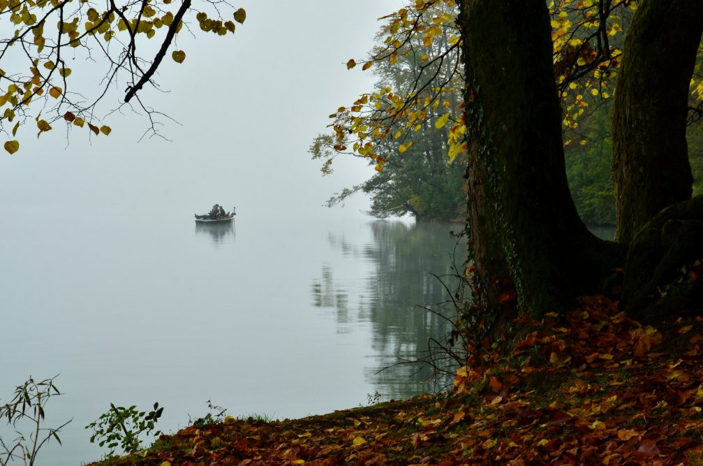 A lonely wooden boat in Lake Bled on a moody autumn day