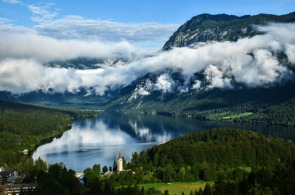 Incredible elevated view of Lake Bohinj, Slovenia from the Vodnikov Razglednik Lookout Point