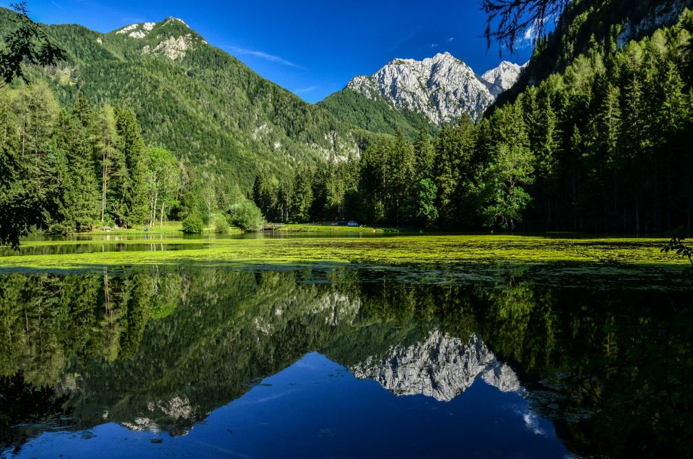 Lake Plansar or Plansarsko Jezero, a small artificial heart-shaped lake in the Jezersko Valley, Slovenia