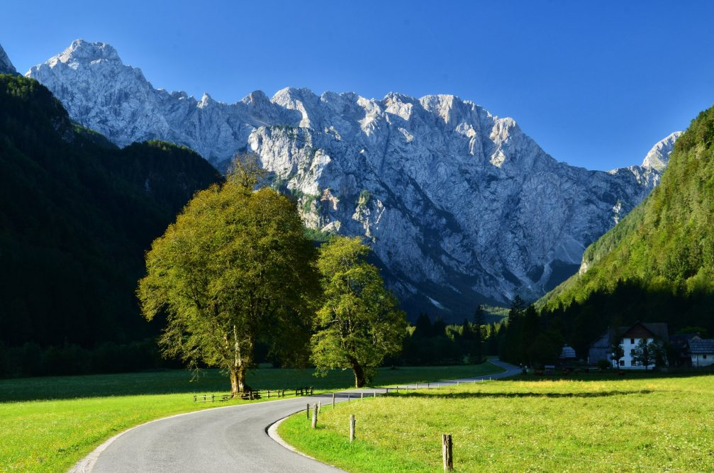 A spectacular view at the entrance into the Logarska Dolina Valley in Solcava in northern Slovenia