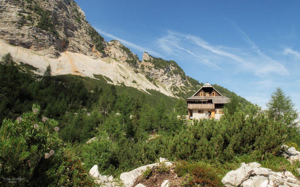The Ceska Koca mountain hut in the Kamnik–Savinja Alps above Jezersko in northern Slovenia