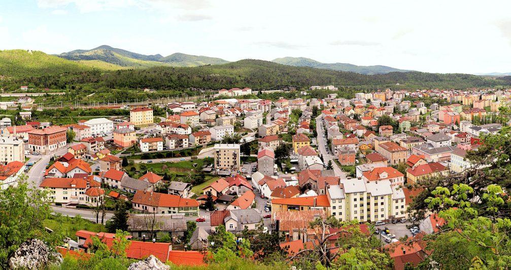 Panoramic view of the town of Postojna, Slovenia
