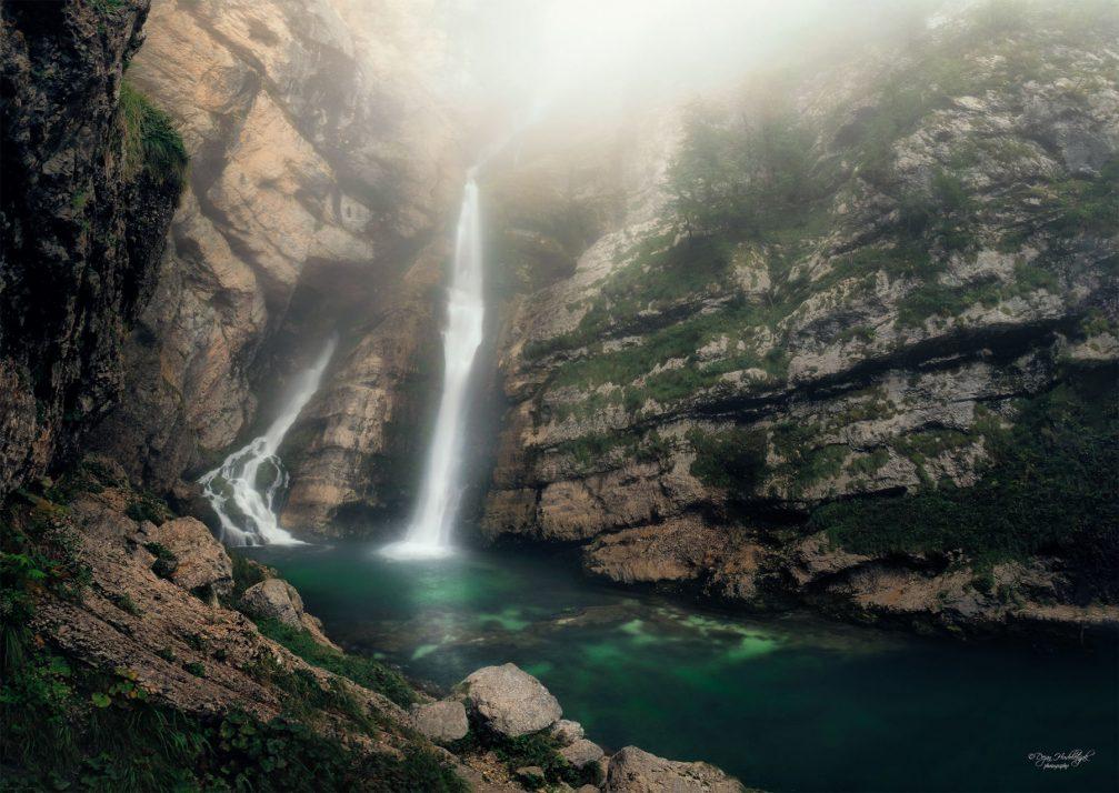 Savica Falls above Lake Bohinj in Triglav National Park in northwestern Slovenia