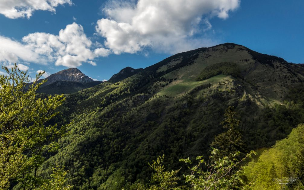 A view towards Cjanovca and Hudickov Borst from the Sveti Jakob hill above Preddvor, Slovenia
