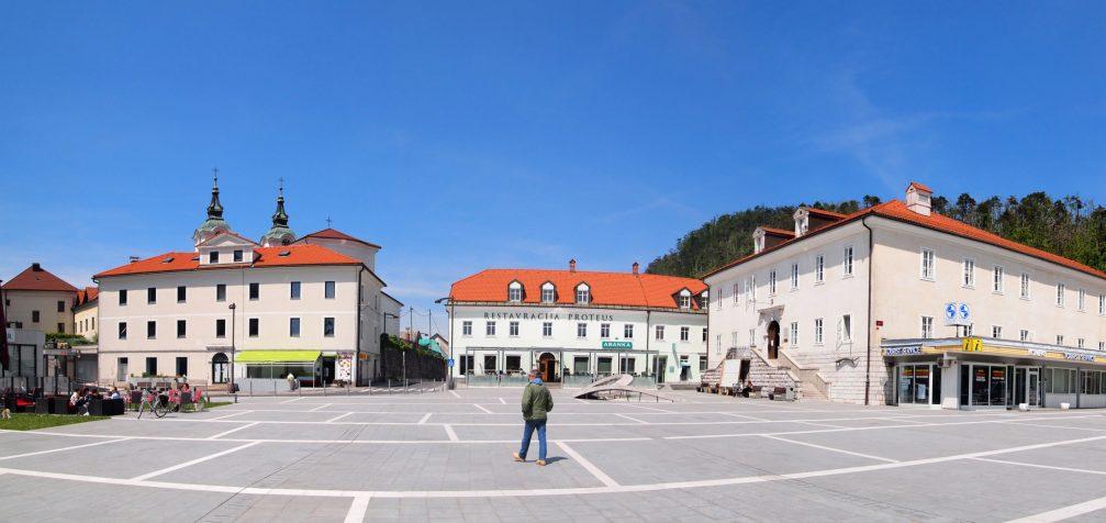 Titov Trg Square in the centre of Postojna, Slovenia