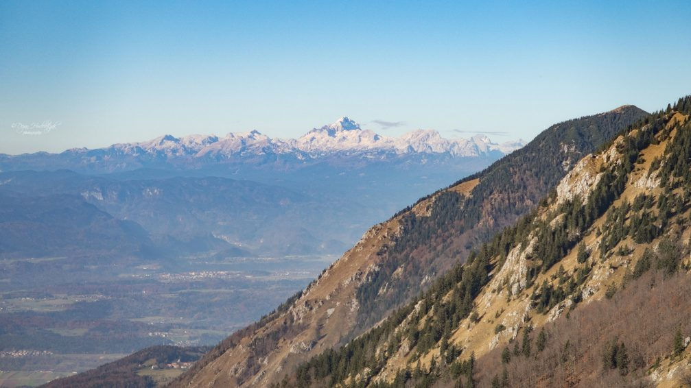 View of the Julian Alps with the Triglav mountain from Kalisce above Preddvor, Slovenia