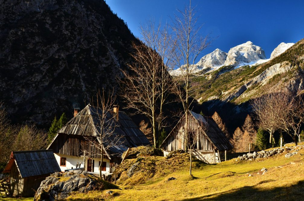 Turer farmstead or Turerjeva Domacija in Zadnja Trenta in the Triglav National Park in Slovenia