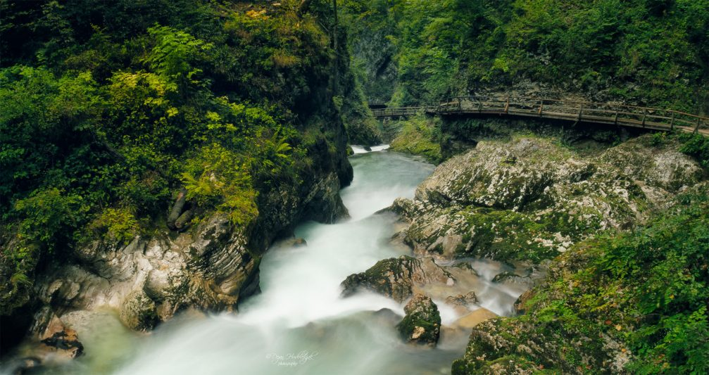 Vintgar Gorge, a spectacular 1600-metre-long and 150-metre-high canyon near Lake Bled, Slovenia