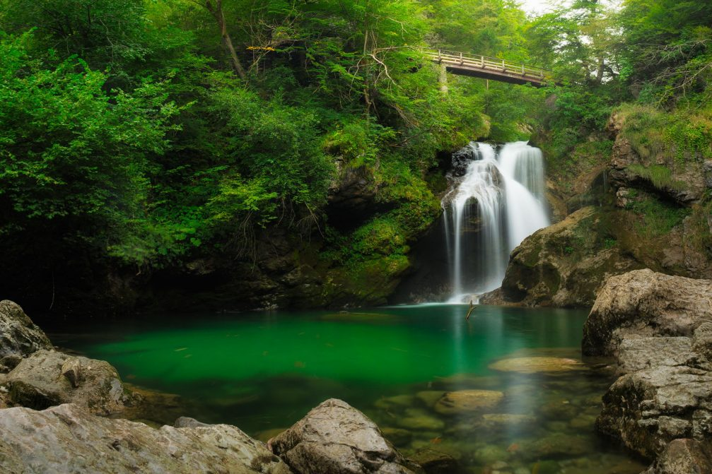 The Sum waterfall in the spectacular Vintgar Gorge near Bled, Slovenia
