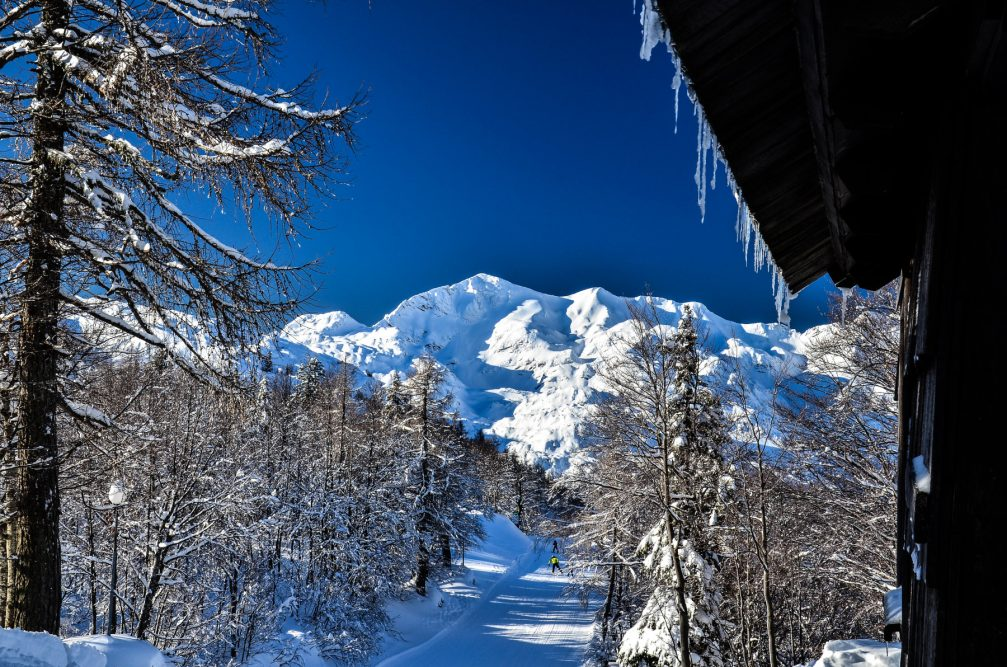 A cross-country skiing trail on Vogel in northwestern Slovenia