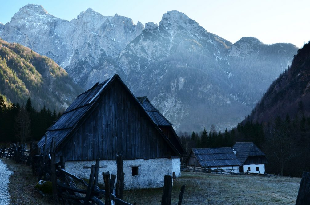 Traditional old houses in Zadnja Trebta in Triglav National Park, Slovenia