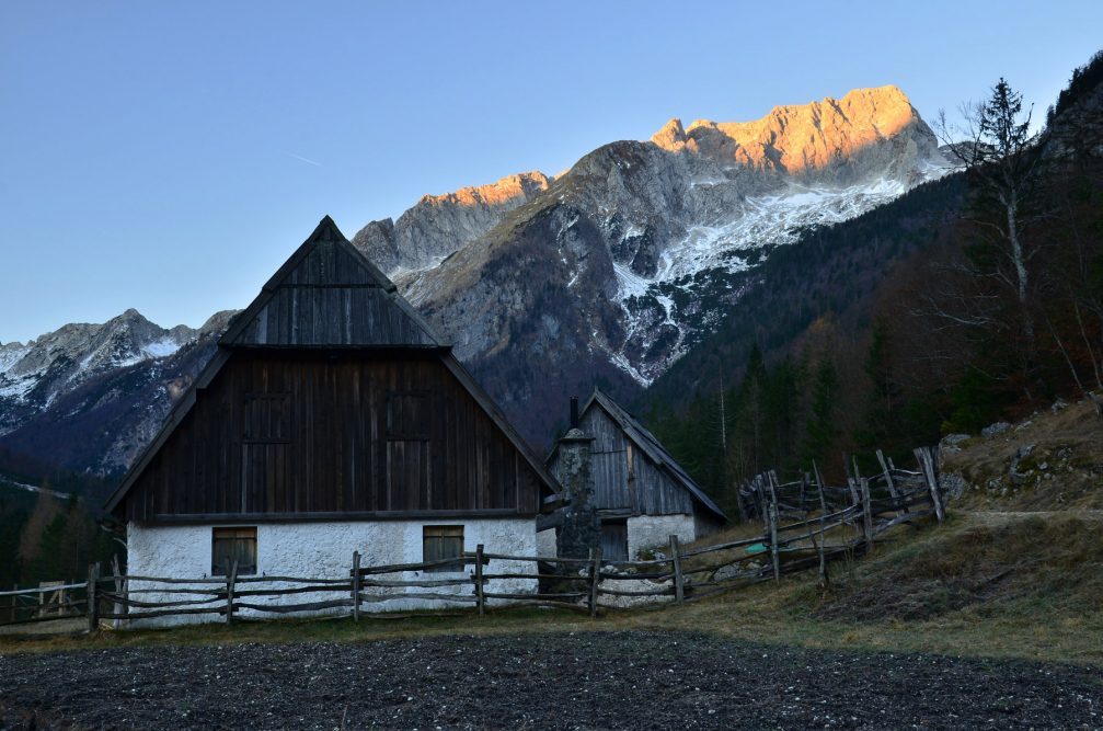 The last remaining high-altitude farms in Zadnja Trenta in the Julian Alps, Slovenia